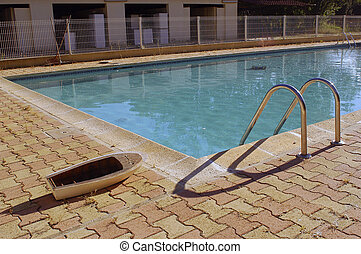 small boat with the swimming pool