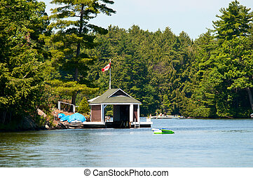 Small boathouse with a Canadian Flag