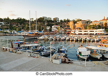 Small boats in a Antalya harbor, Turkey