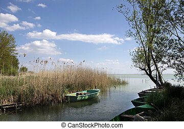 Small boats in the vicinity of Szigliget, Lake Balaton, Hungary