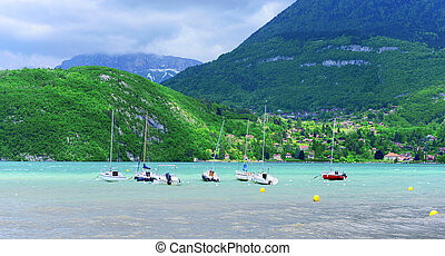 Small boats on the lake of Annecy