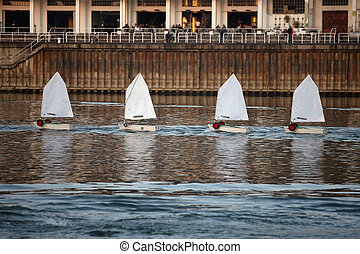 small boats on the river water