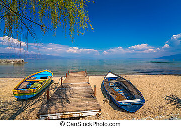 Small boats on the shore of Lake Ohrid