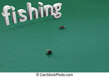 small boats with typographic incrustation of fishing