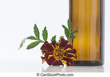 Small bottle of essential marigold oil