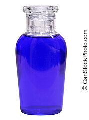 Small bottle with blue liquid on white background
