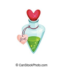Small bottle with love potion, shiny lid in shape of heart. Green magic elixir. Cartoon vector icon