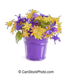 Small bouquet with meadow flowers in a bucket.