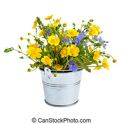 Small bouquet with meadow flowers. Isolated on white ...