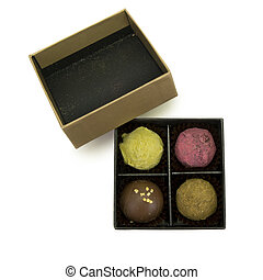 Small box with home made chocolate pralines
