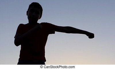 Small Boy Delivers Boxing Blows on a Lake Bank at Sunset in Autumn in Slo-Mo