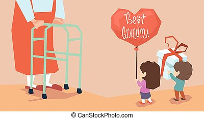 Small Boy Girl Give Present Balloon Grandmother Long Legs...