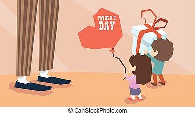 Small Boy Girl Give Present Balloon Adult Man Long Legs...