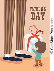 Small Boy Give Present Box Adult Man Long Legs Father Day...