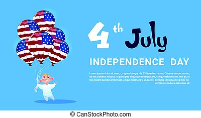 Small Boy Hold Air balloons United States Flag Independence Day Holiday 4 July Banner Greeting Card