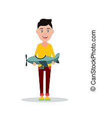 Small Boy Holding Toy Plane Vector Illustration