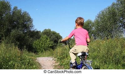 small boy in pink t-shirt goes forward on blue bicycle on footpath in park