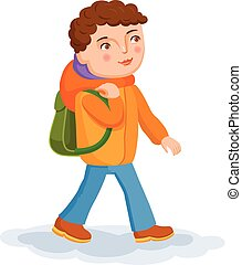 Small boy is coming from school