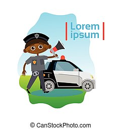 Small Boy Policeman Over Police Car African American Kid Officer