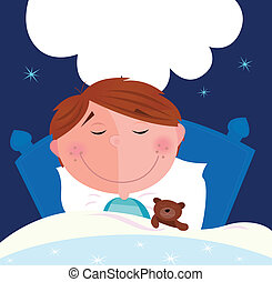 Small boy sleeping in bed