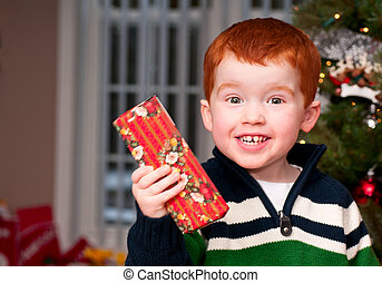 Small boy with a present