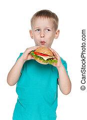 Small boy with hamburger
