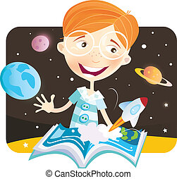 Small boy with story book - Small astronaut – space story...