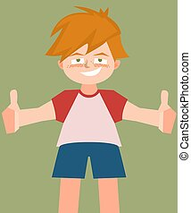small boy with thumbs up vector cartoon