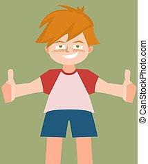 small boy with thumbs up vector cartoon