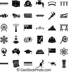Small bridge icons set, simple style