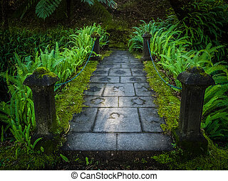 Small bridge in the Terra Nostra Garden