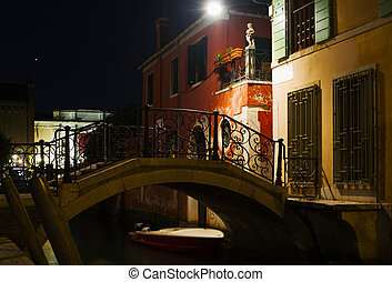 Small bridge in Venice at night