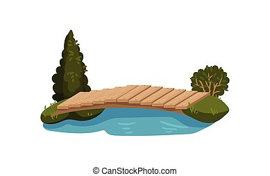 Small bridge made of wood planks, blue pond, green tree, grass and bush. Object for park or backyard. Flat vector design