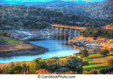 small bridge over Monteleone lake in Sardinia