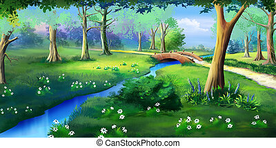 Small Bridge Over the Creek in a Park