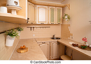 small bright and cozy kitchen. interior solutions for apartment