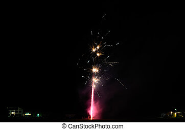 small bright firework in night