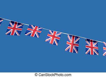 Small British Union Jack celebration flags.