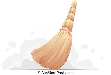 Small broom sweep floor
