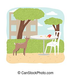 Small browm fawn willing to eat fast food from table in city