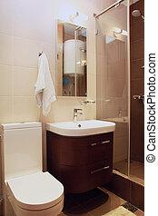 Small brown bathroom