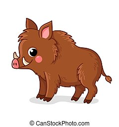 Small brown boar stands on a white background. Vector illustration in cartoon style.