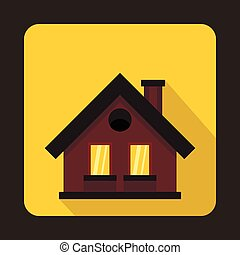 Small brown cottage icon, flat style