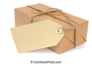 Small brown paper package with label