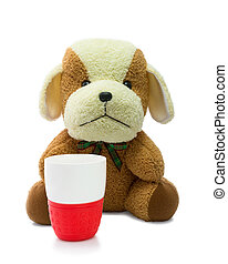 Small brown puppy with red mug isolated on white background.