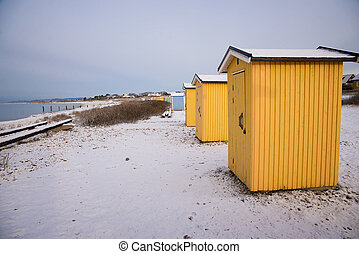 small buildings in winter
