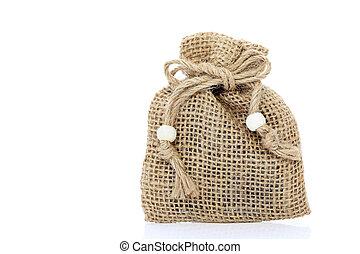burlap bag - Small burlap bag on white background