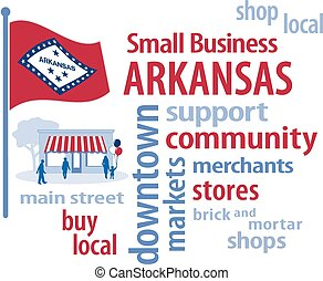 Small Business Arkansas, Flag - Small Business word cloud...