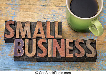 small business banner in wood type