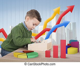 Small business consultant - Child plays to make calculations...
